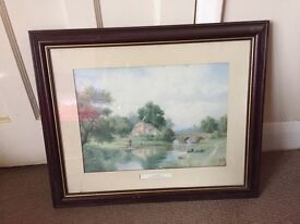 River Scene Picture in Wood Frame