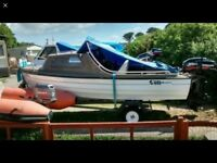 15ft Bonwitco 449c cabin boat with engines - 40hp + 5hp