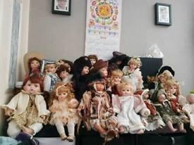 17 porcelain dolls