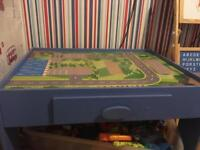 Wooden train track and table