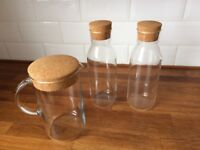 3 Large Glass Storage Jars With Cork Lid