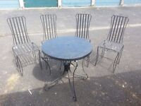 Garden metal four black chairs and table set
