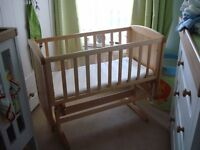Mothercare deluxe gliding crib with mattress