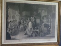 Engraving - church setting thought to be by Robert Mitchell mid 19th century