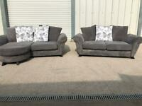 Grey dfs 3 seater corner & 2 seater sofas, couches furniture 🚚🚛