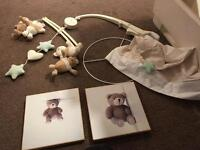 I Love My Bear Cot Mobile, lampshade, pictures