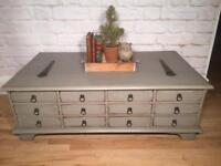 Gorgeous coffee table chest. Annie Sloan shabby chic grey. Shabby chic