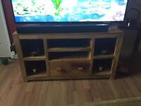 Solid oak TVs unit. Coffee table , 2 x side table