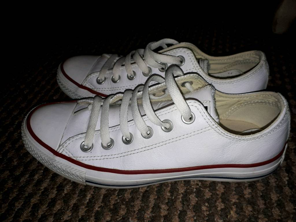 White leather look converse size 5