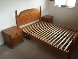 Pine double bed frame and bedside cabinets