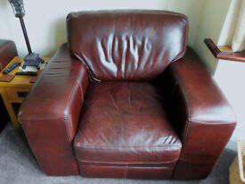 LEATHER ARM CHAIR, ONE LARGE COMMERCIAL BEST QUALITY SINGLE SEATER ARMCHAIR