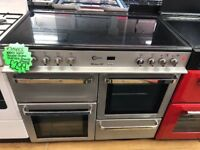 FLAVEL 100CM CEROMIC TOP ELECTRIC RANGE STYLE COOKER IN SILIVER