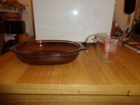 Pyrex casserole dish and measuring jug