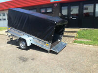 SINGLE AXLE TRAILER 750 kg CAMPING CAR TRAILER 8,6ft x 4,4ft. TIPPING TRAILER