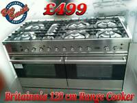 Britannia 120 cm Range Cooker Dual Fuel Stainless Steel Industrial