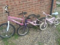 "3 x girls bikes bicycles for 4-10 years inc bmx all tested and working from 12"" 16""and 20"" wheels"