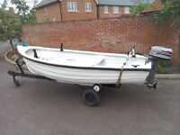 13ft Fibreglass fishing boat, with trailer, lightboard, Mariner 4.0 Outboard, Eagle fish finder etc