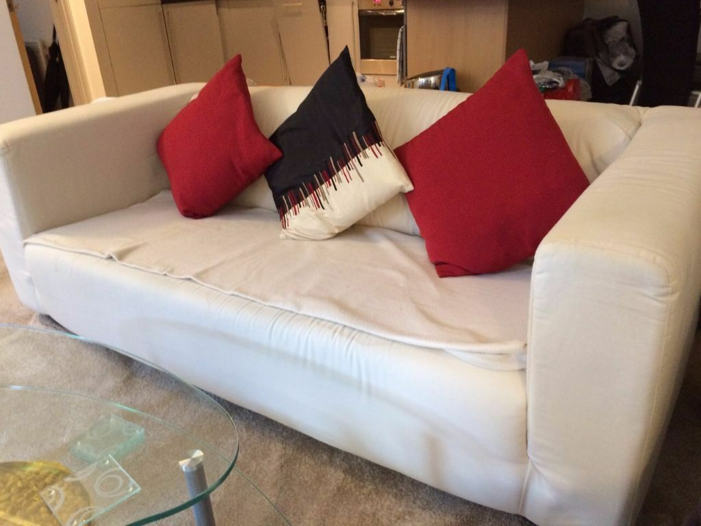 White fabric 2 3 seater sofa for sale in london bridge for Fabric couches for sale