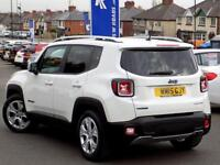 JEEP RENEGADE 1.6 M-JET LIMITED 5dr 118 BHP ** Sat Nav + Leather (white) 2015