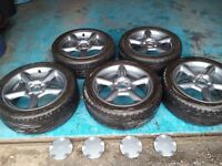 """FORD ESCORT COSWORTH STYLE MONDEO RS 16"""" ALLOYS WITH TYRES AND CENTRE CAPS"""