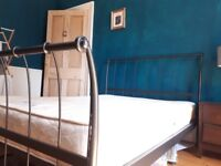 Double bed and matress black metal frame stylish