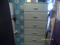 CHEST of DRAWERS , 18 by 16 by 57 inches TALL . with , SEVEN DRAWERS +++++
