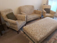 Vintage Period 4 piece Sofa Chair Furniture Set with Cotton-blend Tapestry