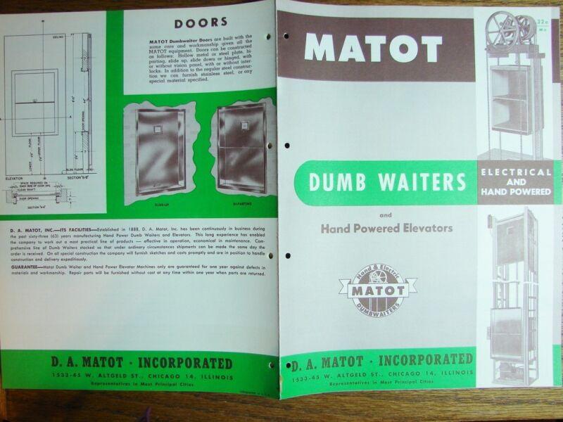 1954 MATOT Dumbwaiters Elec,Hand Powered ELEVATORS Invalid Lifts Vintage Catalog