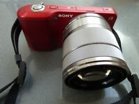Red Sony NEX-3 with 18-55 OSS lens