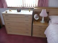 Bedroom suite, light beechwood, - headboard, dressing table and 6no. units by Nolte