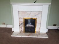 White fireplace surround & marble hearth