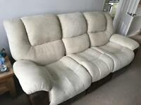3 seater reclining sofa and 2 matching recliner chatis