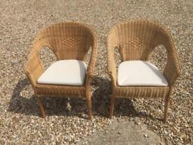 Wicker chairs and cushions