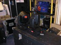American DJ Vizi LED moving heads x 2 with flight case