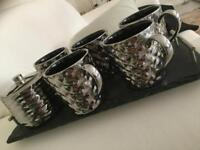 5 Metallic Silver Ceramic Mug with Sugar bowl