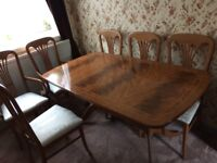 dining table, six chairs,