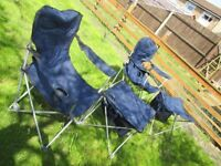 Pair of telescopic folding camping chairs with sidetable/footrest