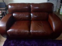2 seater leather brown sofa - good condition