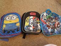 3 x boys back packs