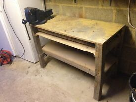 HEAVY WORKBENCH (OAK LEGS) WITH LARGE ENGINEERS VISE