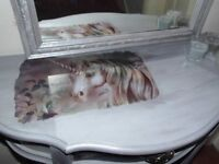 Beautiful upcycled unicorn inspired make-up station , hall table in shimmery grey Mirror available.