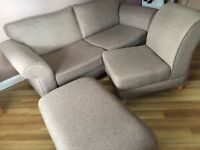 Brown 3 seater sofa with matching chair and footstool