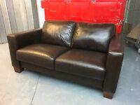 CHOCOLATE BROWN ITALIAN LEATHER SMALL TWO SEATER