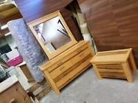 Heavy striped pine wood dressing table and matching 2 draw chest