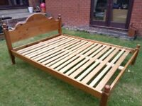 """Double bed frame, pine, 4'6"""""""