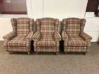 Brown Next Sherlock tweed tartan wingback armchair * free furniture delivery *