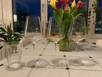 3 FREE Crystal Burgundy Wine Glasses