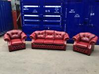 ORIGINAL antique Leather CHESTERFIELD 3 Piece Suite sofa/ settee chairs Oxblood Genuine
