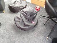 TWO LARGE BLACK BEAN BAGS CHILDS SEATS PET SEATS - BIG BERTHA & THE CLOUD FREE!!!