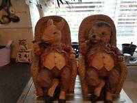 hedgehog and rat ornaments
